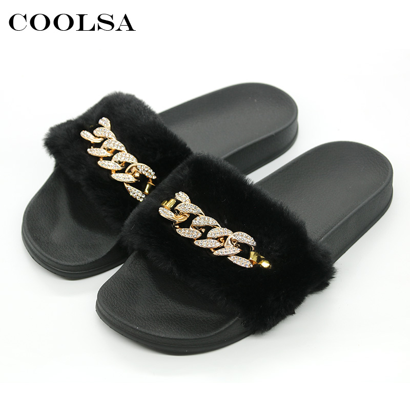Coolsa Women Plush Slippers Rhinestone Chain Fluffy Fur Slides Flat Non Slip Indoor Flip Flops Female Cute Furry Casual Sandals
