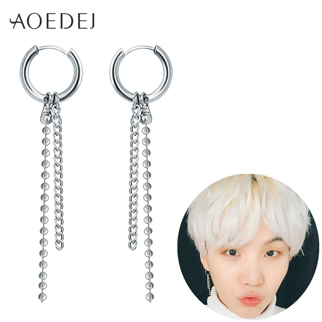 be4fb5ef3268d US $4.1 5% OFF|AOEDEJ Suga BTS Earrings Bangtan Korean Earrings 2018  Tassels Earrings For Women Men BTS Accesorios Jewelry Men Earring Hoop-in  Hoop ...