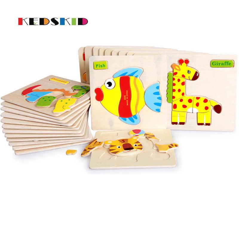 Деревянный 3D головоломки деревянные Игрушечные лошадки для детей мультфильм головоломка Паззлы интеллекта детей монтессори игрушка Игрушечные лошадки