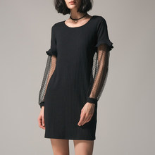 d8b9e15f018 Plus Size Women Sexy Lace See-Through Midi Dress Autumn Elegant Long Sleeve  Patchwork Party Bodycon Dress Black Club Dress 2018
