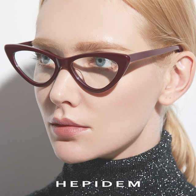 hepidem Acetate Optical Glasses Frame Women Brand Designer Cat Eye Prescription