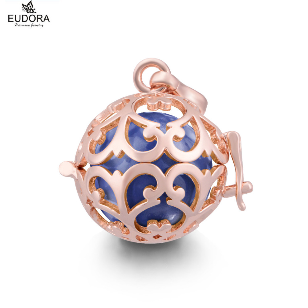 Color harmony online - Rose Gold Color Harmony Bola Angel Caller Locket Pendant Chime Sounds 18mm Belly Bola Leather Necklace