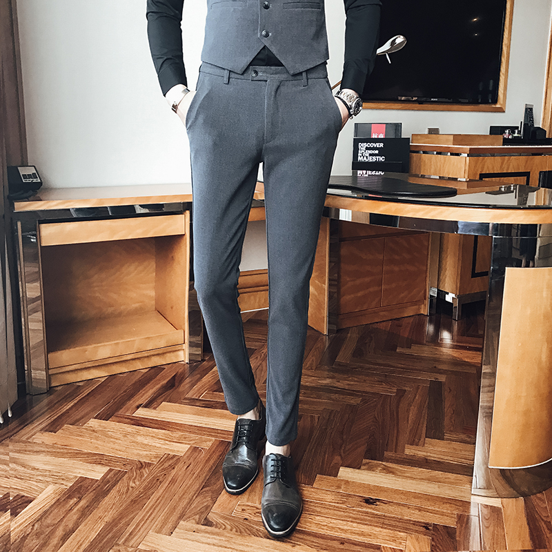 2017 New Mens British Style Gentleman Trousers Casual Students Teenagers Favourite Suit Fashion Business Formal Occasions P