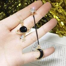 New Asymmetrical Star Moon Earrings Women Fashion Korean Temperament Earring Long Personality Ear Jewelry Exquisite