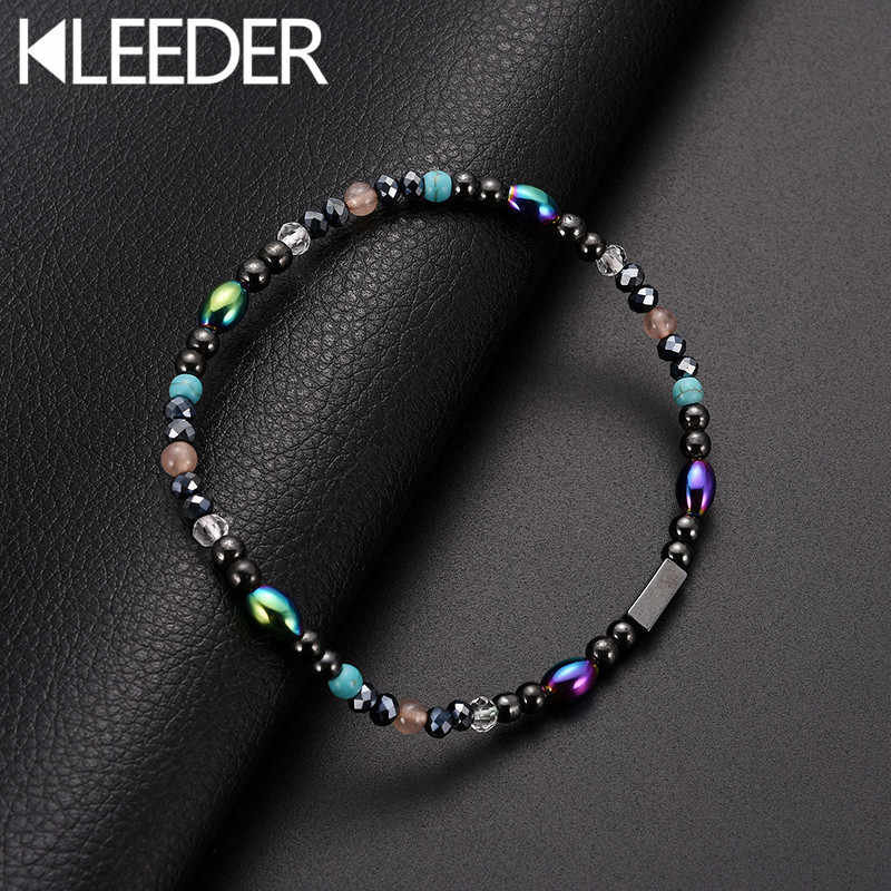 KLEEDER Magnetic Stone Anklets Therapy Weight Loss Slimming Beaded Anklets for Women Fashion Jewelry Health care ankle bracelets