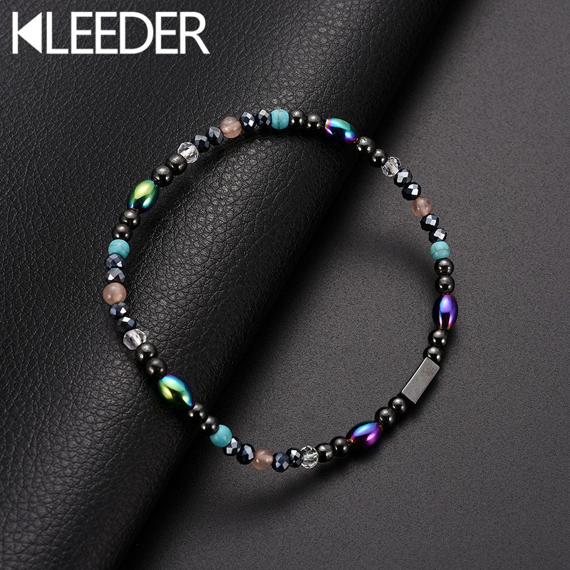 KLEEDER Magnetic Stone Anklets Therapy Weight Loss Slimming Beaded for Women Fashion Jewelry Health care ankle bracelets