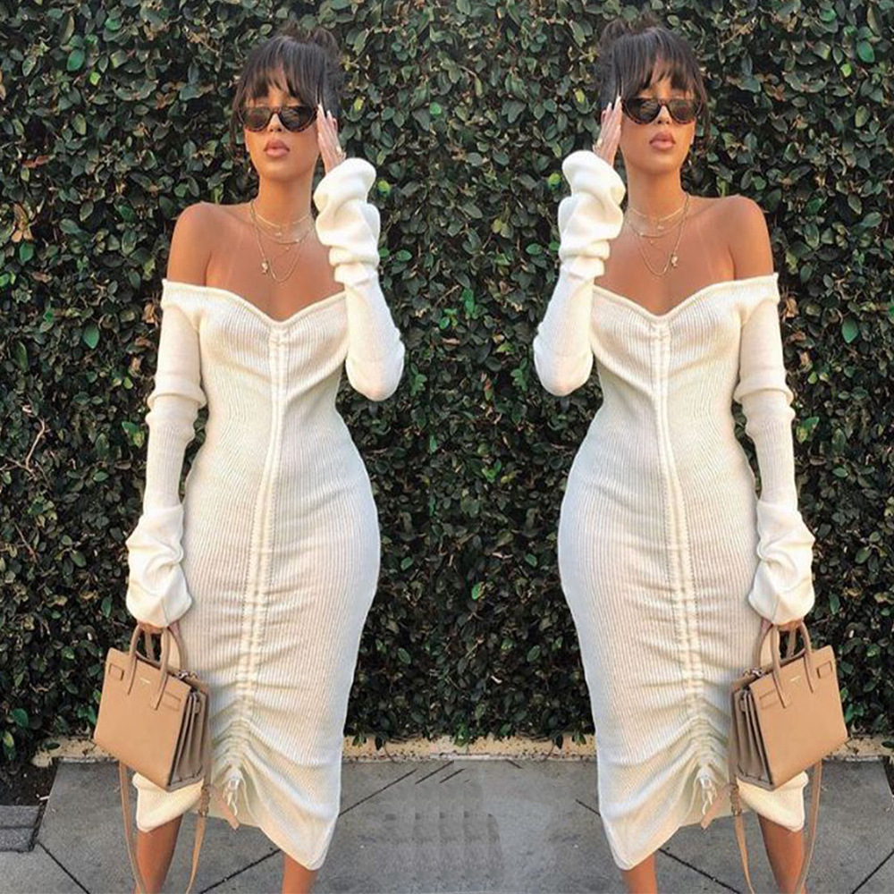 Women/'s Long Sleeve Ribbed Knit Off Shoulder Maxi Body-Con Dress