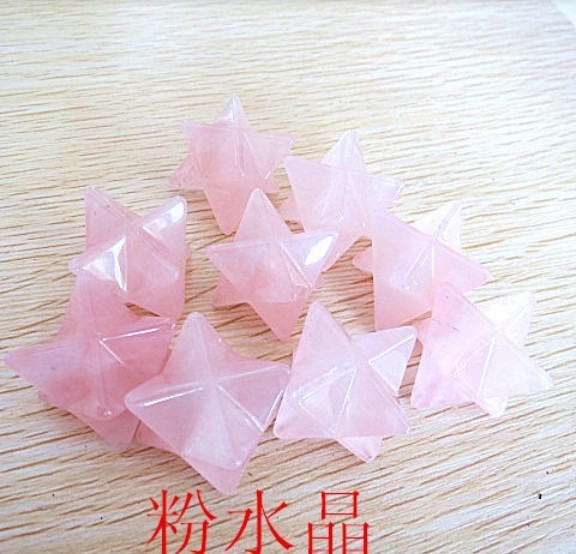 20mm Natural Rose Pink Quartz Crystal Big Merkaba Star Carving pendant