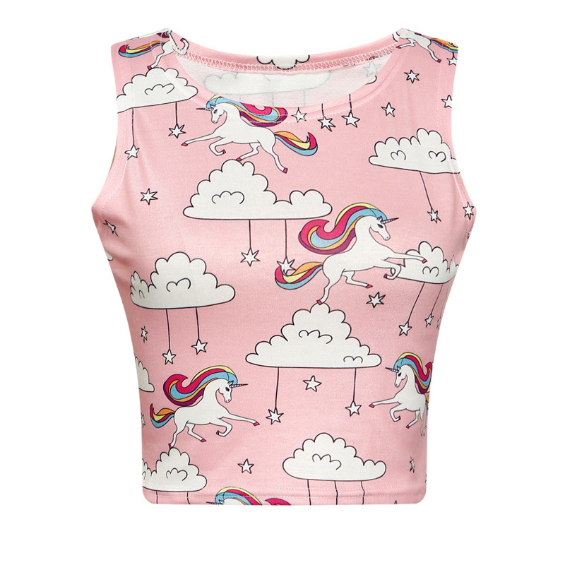 2018 summer new clouds rainbow horse 3d print Slim ultra-short stretch pink girl vest