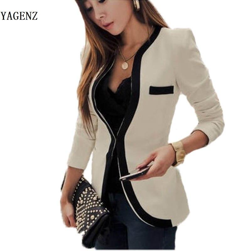 Fashion Women's Slim Jacket Suit 2019 Autumn Casual Winter Jacket Women Slim V-Neck Single Button Outerwear Suit Women Coat B93