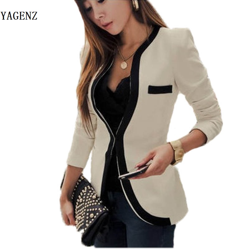 Fashion Women's Slim Jacket Suit Autumn Casual Winter Jacket Women Slim V-Neck Single Button Outerwear Suit Women Coat B93