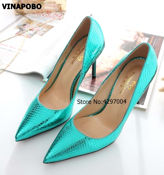 Vinapobo Green Leather 2018 New Spring High Heel Women Pointed Toe Lady Shoes Stone Pattern Work Pump Party  Wedding Shoes Pumps