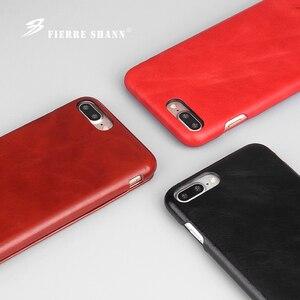 Image 2 - Fierre Shann Super luxe étuis en cuir véritable pour iPhone 6 6S 7 7plus 8 8plus 11 Pro X XR XS Max S étui de téléphone à rabat coque de couverture