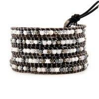 vintage Style weaving leather men bracelet african jewelry mix bead beads bracelet,adjusted size JBN-9057