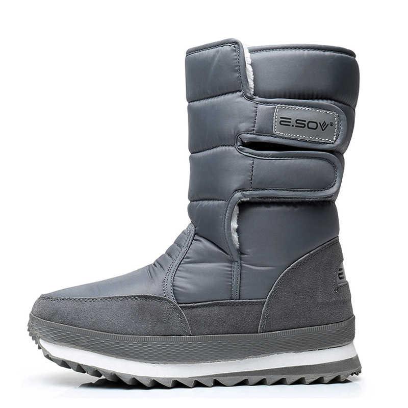 Kış su geçirmez, anti kaygan kar botları kalınlaşma sıcak çift botları, erkek kar ayakkabıları, orta tüp rahat pamuklu bot