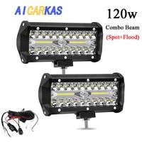 AICARKAS 6 inch 120W LED Work Light 12V 24V Offroad LED 4x4 Spotlight Combo Beam Light Bar LED ATV Off road Waterproof Work Lamp