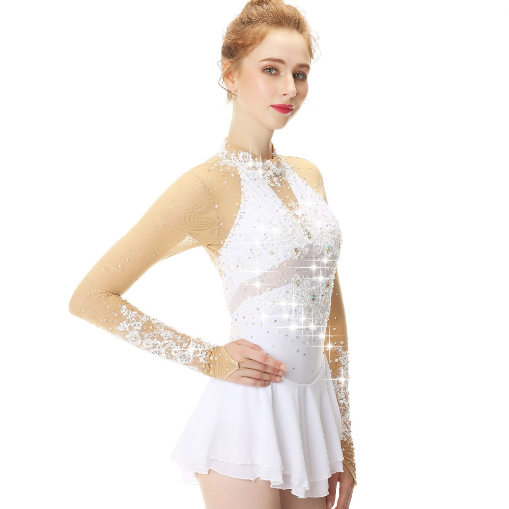 025ea6a85ea7b US $159.0 |White Lace Flower Decoration Crystal Diamond Figure Skating  Dress For Girls And Women-in Hockey Jerseys from Sports & Entertainment on  ...