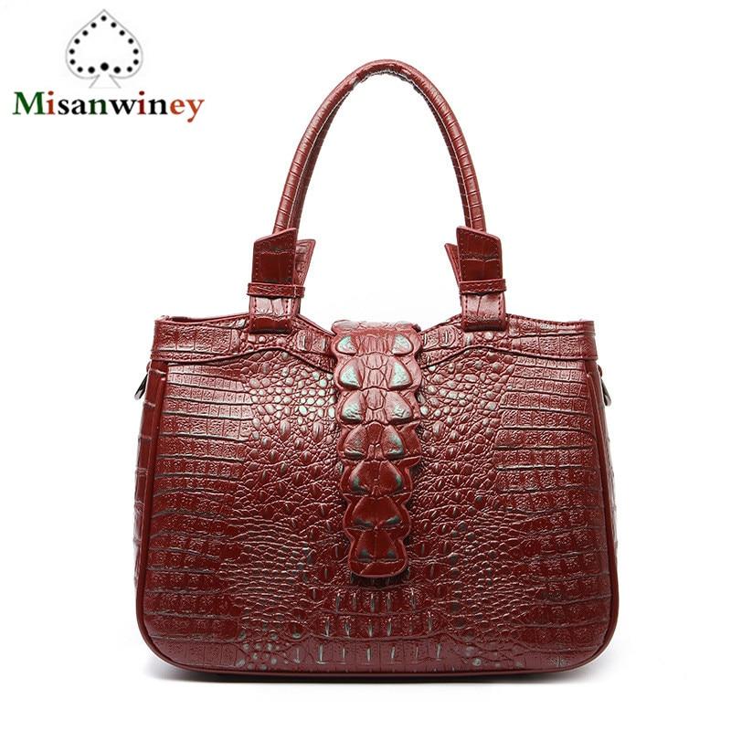 Fashion Genuine Leather Crocodile Pattern Messenger Womens Bag Casual Luxury High Quality Shoulder Crossbody Handbag Vs Pink Bag
