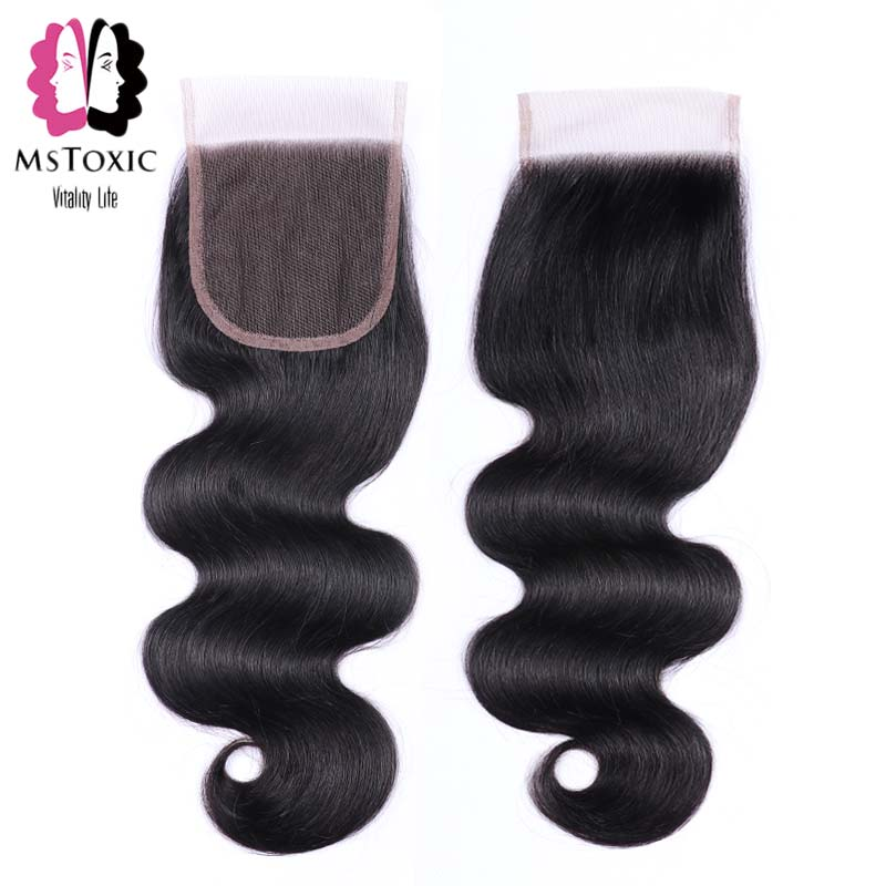 Mstoxic Lace Closure Brazilian Body Wave Remy Hair Natural Color Human Hair Free Part Top Closure 4x 4 Free Shipping