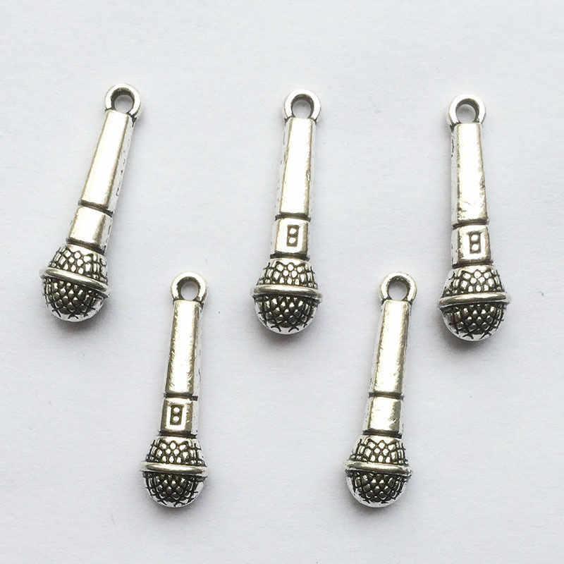 10 шт. микрофон Тибетский серебряные бусины 3D кулон, браслет
