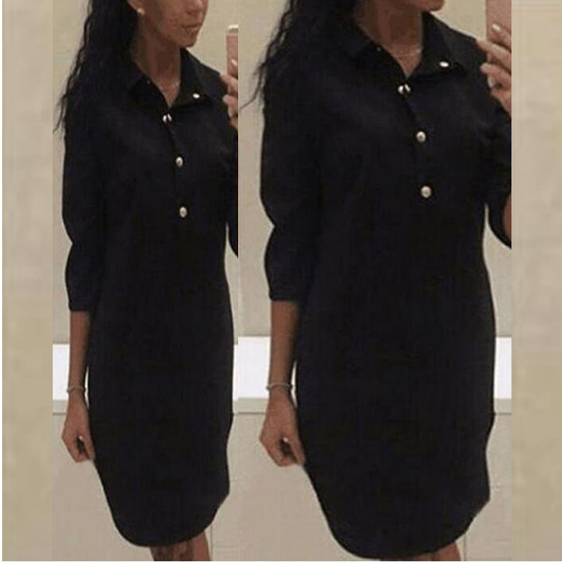 Celmia Women Shirt Dress 2018 Summer Sexy 3/4 Sleeve Turn Down Collar Casual Solid Tunic Mini Dresses Plus Size Vestido De Festa