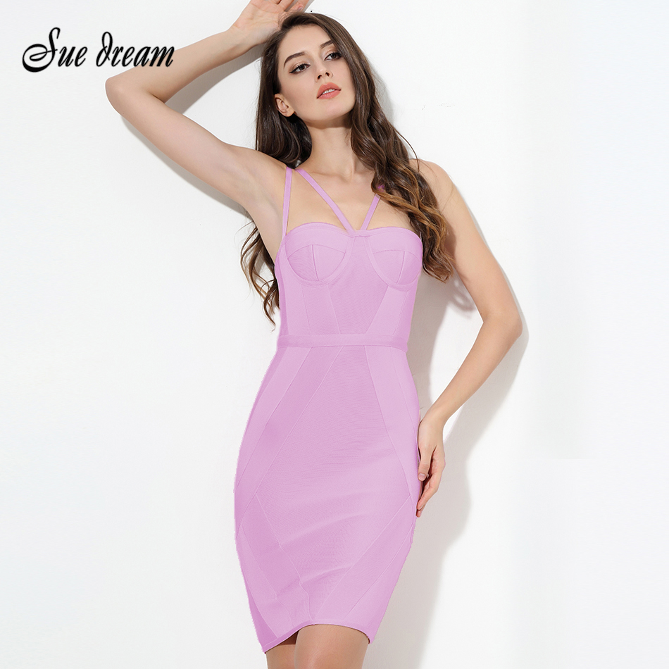 773d374e0ea 2018 New summer Women Party Bodycon Dress sexy pink strap Knee Length  Celebrity Chic Bandage Dress Clubwear wholesale vestidos ~ Perfect Sale May  2019