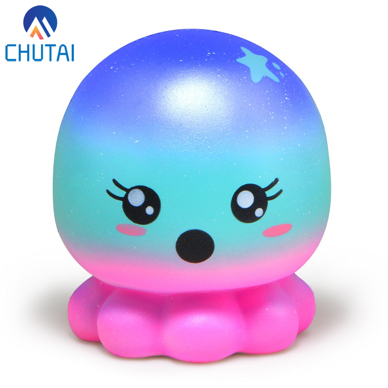 Stress Relief Toy Original Kawaii Slow Rising Galaxy Octopus Squishies Squeeze Kids Toy Stress Reliever Aid Mobile Collection Cure Gifts 7.4 Squeeze Toys