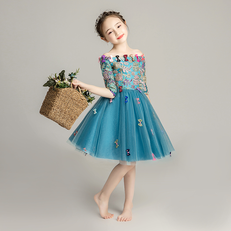 Baby little girl birthday dress fairy princess ball gowns show stage piano costume blue evening wedding one shoulder lovely kidsBaby little girl birthday dress fairy princess ball gowns show stage piano costume blue evening wedding one shoulder lovely kids