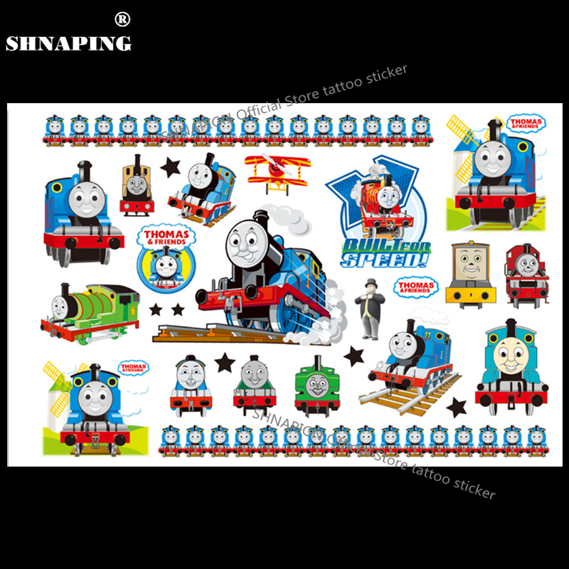 SHNAPIGN Train Thomas Enfant Temporaire Body Art Flash Tatouage Autocollant 10 * 17 cm Étanche Henné Faux Tatoo voiture Styling Autocollant