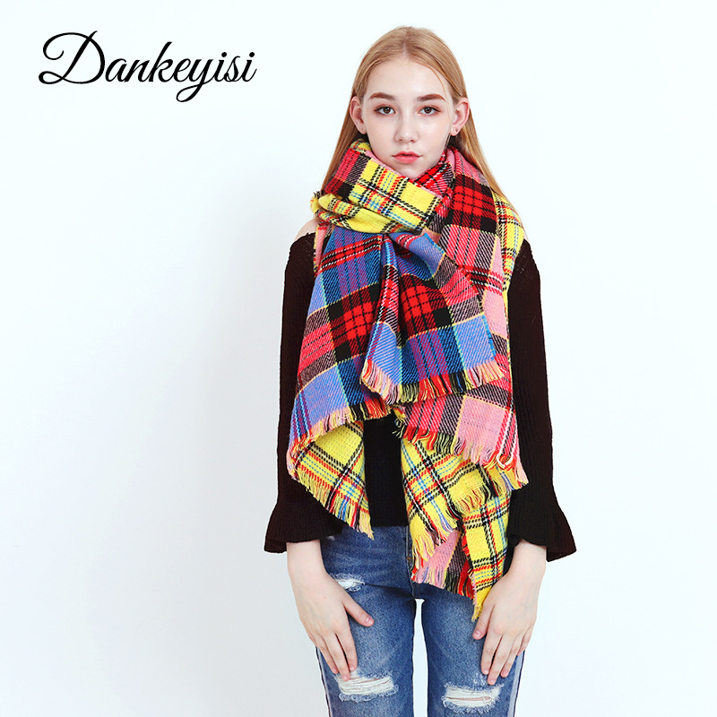 DANKEYISI Fashion Long Winter   Scarf   Women Plaid Cashmere   Scarf     Wrap   Knitting Thick Shawls Blanket Neck Bandana Pashmina Lady