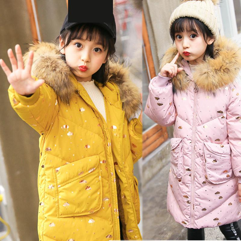 2018 New Children Duck Down Jacket Girls Fur Collar Coat Fashion Long Winter Jacket For Girls Warm Overcoat Snowsuits -30 Degree elegance princess winter wool coat 2016 new fashion fur stand collar overcoat winter warm jacket for girls pink red 120 160cm