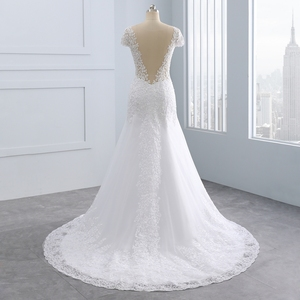 Image 3 - 2020 Vestidos de noiva Short Backless Lace Wedding Dresses Mermaid Appliques Pearls White Wedding Gowns Plus Size Wedding Dress