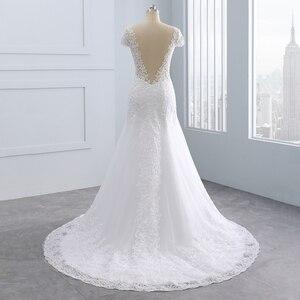 Image 3 - 2020 Vestidos de noiva kısa Backless dantel düğün elbisesi es Mermaid aplikler İnciler beyaz gelinlikler artı boyutu düğün elbisesi