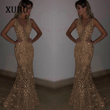 XURU Luxury New Sequined Dress Sexy Party Sleeveless Deep V Cathedral Bride