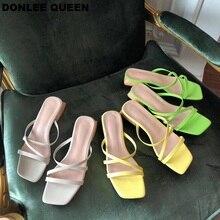 цена на DONLEE QUEEN 2019 New Summer Women Slippers Low Heel Slides Female Peep Toe Chunky Heel Sandals Women Beach Flip Flops Vacation
