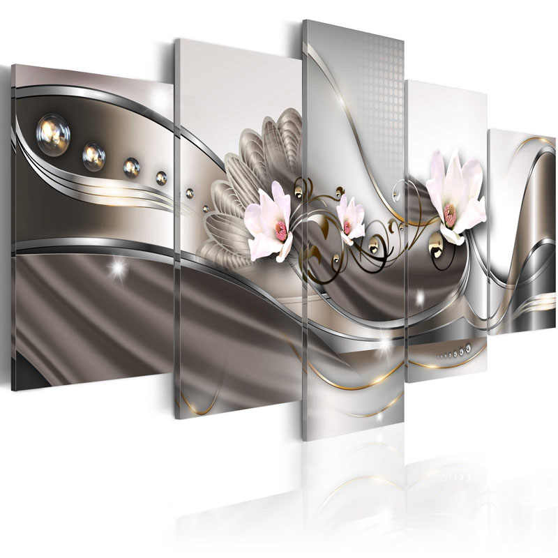 5 Pieces Hot Sell Modern Painting white Orchid Home Decor Canvas Painting Wall Art For Living Room Pictures Framed PJMT-40