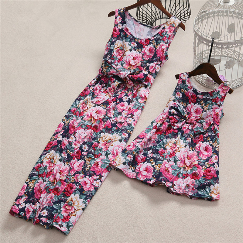 Family Bow Dress Mother And Daughter Matching Outfits Sleeveless Sweet Fashion Flower Sling Dress Summer Sundress Outfit Party