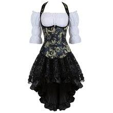 Bustini corsetto del pannello esterno del vestito top spalline della maglia corsetti pirata lingerie burlesque plus size nero burlesque three piece korsett sexy