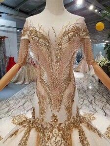Image 5 - LS22005 luxus meerjungfrau hochzeit kleider mit goldenen spitze oansatz quaste kurzen ärmeln open back trompete robe de mariée sirène