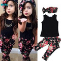 Girls Fashion floral casual suit children clothing set  sleevess  outfit +headband 2015 summer new kids clothes set
