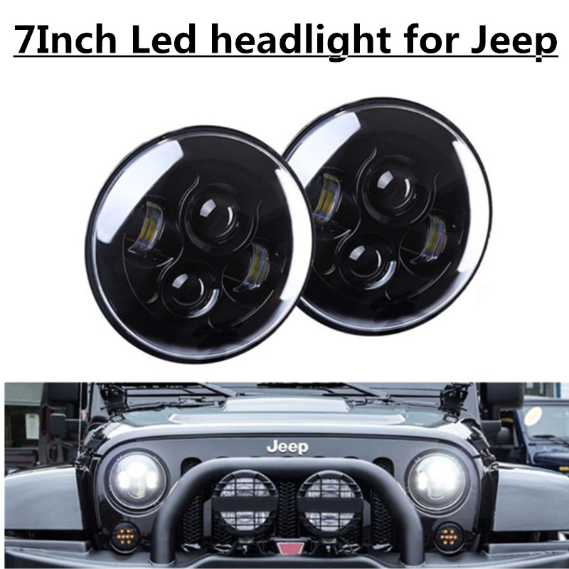 2pcs Black 7 Inch Round Headlight For JK Wrangler 97-15 7 40W LED Projector Headlight For Lada 4x4 urban Niva 7 inch black round plastic rotary plate turnplate clay pottery sculpture tool