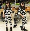 Conjunto de roupas crianças meninas esporte subiu camisola floral harem pants duas peças roupas das meninas 2-7 anos de idade as crianças roupas de treino