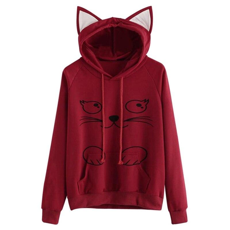 Newly Autumn Winter Women Hoodies Long Sleeve Sweatshirt Cat Printing Pocket Lady Casual Hooded Pullovers