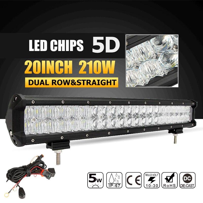 """Oslamp 210W 20"""" Straight 5D LED Light Bar Offroad Led Work Light Combo Beam Driving Lamp 12v 24v Truck SUV 4WD ATV 4x4 Led Bar"""
