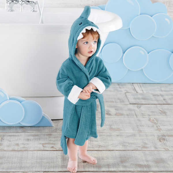 a6ee888638 Size L Shark Children s Cartoon Bathrobes Cotton Towels for Boys and Girls  Sets Home Clothing Baby