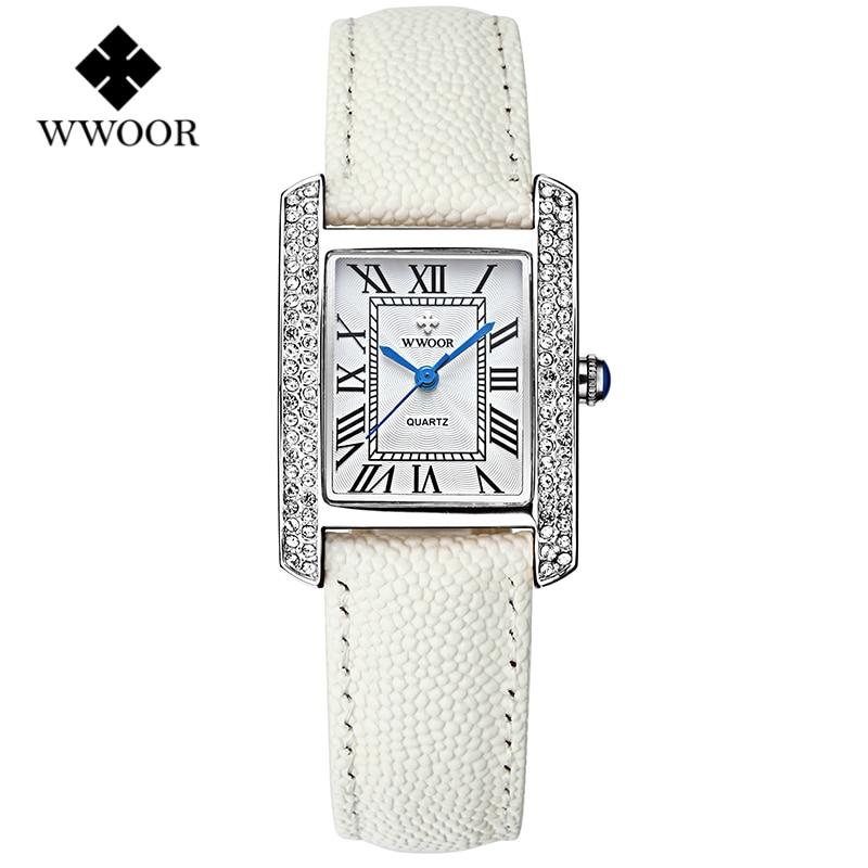 Топ моды Часы Для женщин бренд wwoor Кварцевые часы Алмазы платье дамы Повседневное кристалл спортивные наручные часы кожаный ремешок Белый