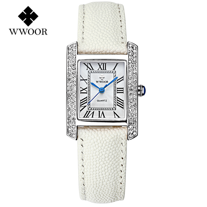 Top Fashion Watches Women Brand WWOOR Quartz Watch Diamonds Dress Ladies Casual Crystal Sports Wristwatch Leather strap white