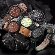Masculino Casual Relógio Militar Assista Data com Pulseira de Couro Relogio masculino Dos Homens Clássicos do Vintage À Prova D' Água Esporte relógio De Quartzo Exército