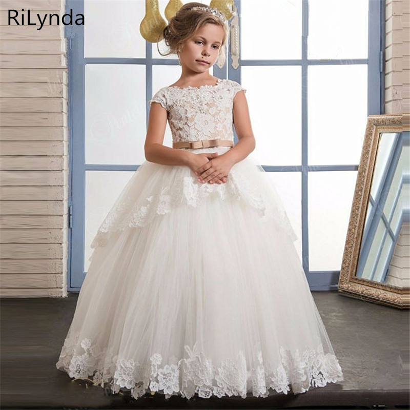 New First Communion Dresses for Girls Champagne O-neck Sleeveless Ball Gown Lace Appliques Flower Girl Dresses for Weddings