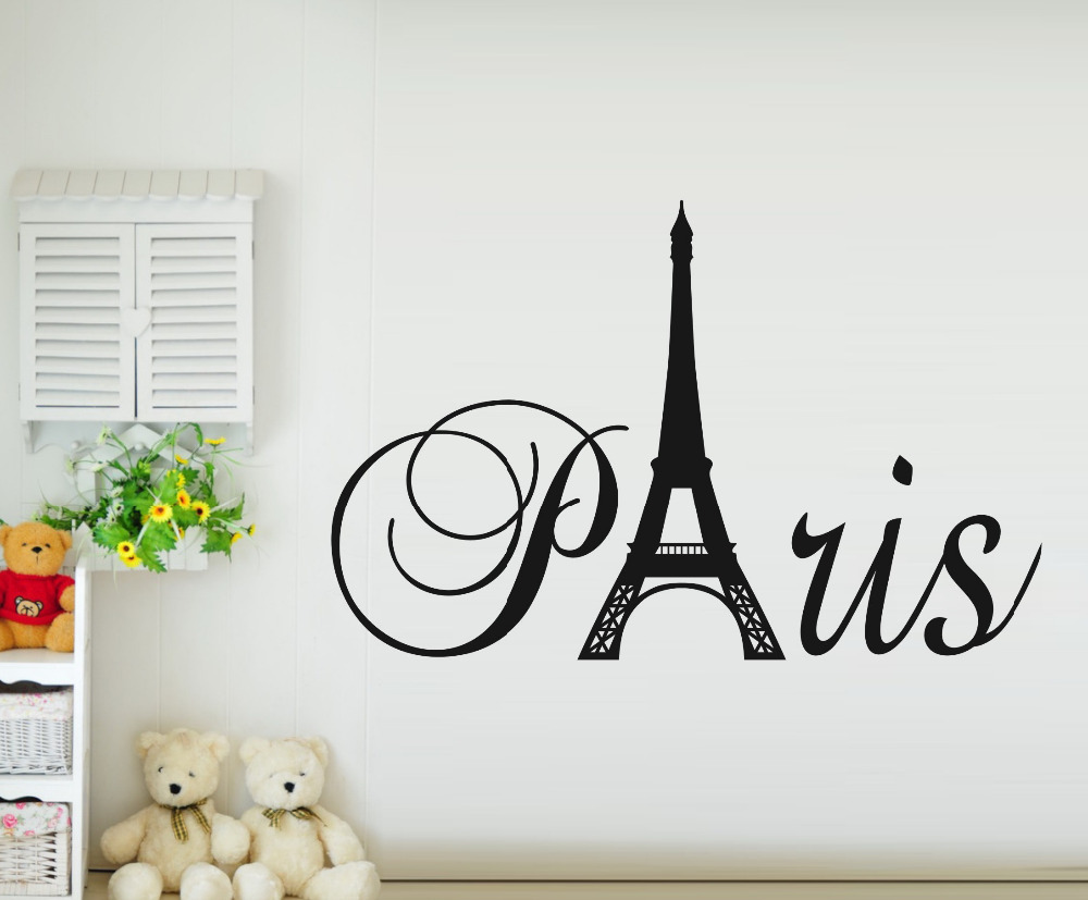 Paris Art Eiffel Tower Removable Vinyl Wall Stickers Decals Quote Living Room Bedroom Background
